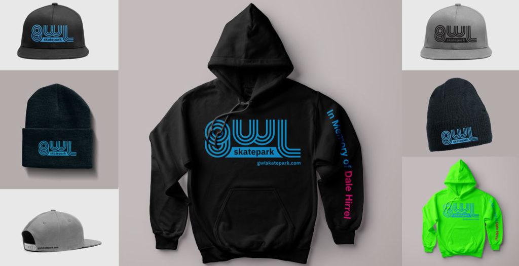GWL Skatepark Corp. branded hoodies, beanies, ball caps, fundraiser