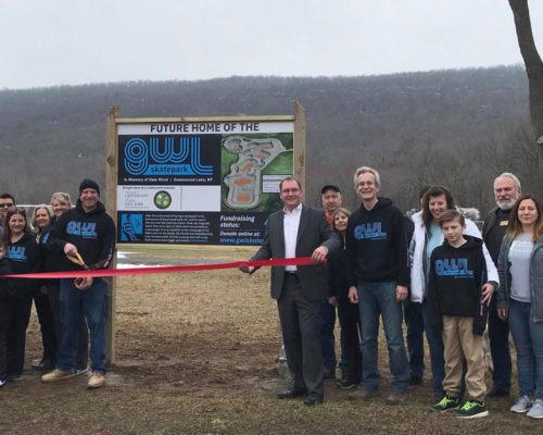 GWL Skatepark Sign ribbon-cutting, along with Greenwood Lake Mayor Jesse Dwyer and Warwick Valley Chamber of Commerce