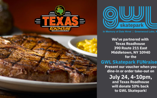 GWLSkatePark fundraising event, Texas Roadhouse, FUNraiser