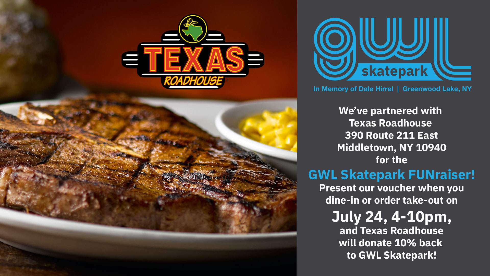 GWLSkatePark fundraising event, Texas Roadhouse, FUNraiser