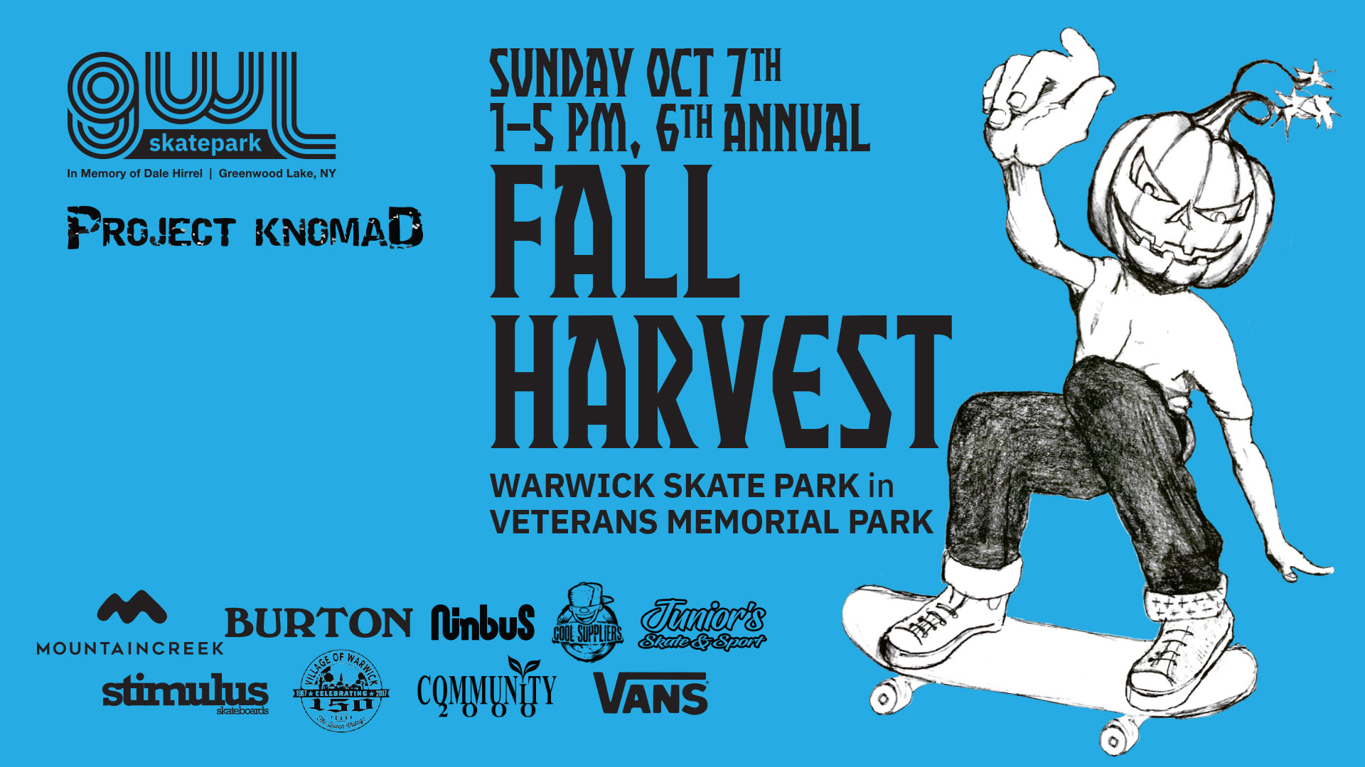 GWLSkatePark fundraising event, 6TH Annual Fall Harvest Game of Skate, Skate Contest, Veterans Memorial Park, Warwick Skate Park, Project Knomad, Warwick NY