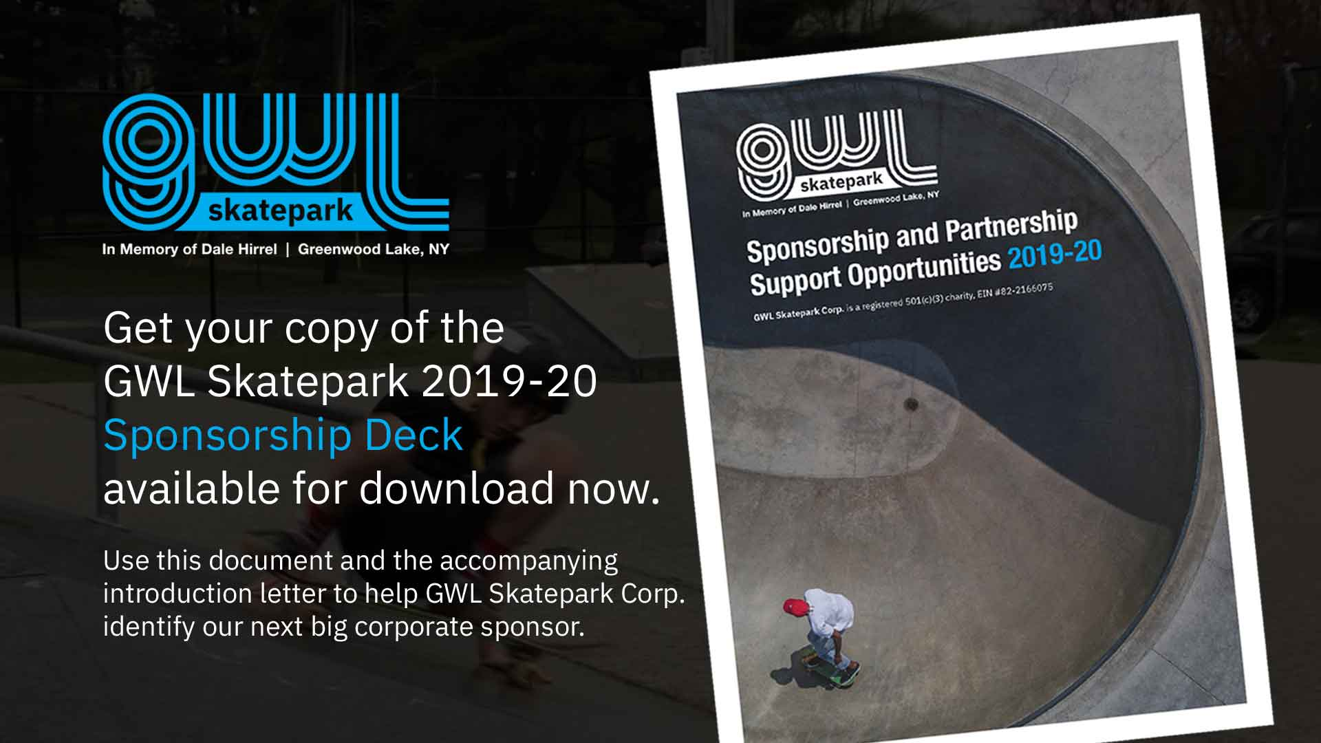 GWLSkatePark Skate Sponsorship Deck, Fundraising for everyone, Do It For Dale, Greenwood Lake NY