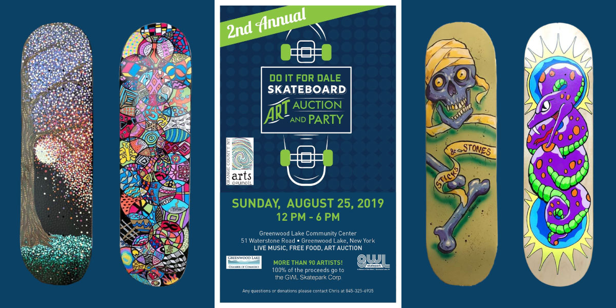 GWLSkatePark fundraising event, 2nd Annual Skateboard Art Auction and Party, fundraiser, Greenwood Lake Community Center, Greenwood Lake, NY